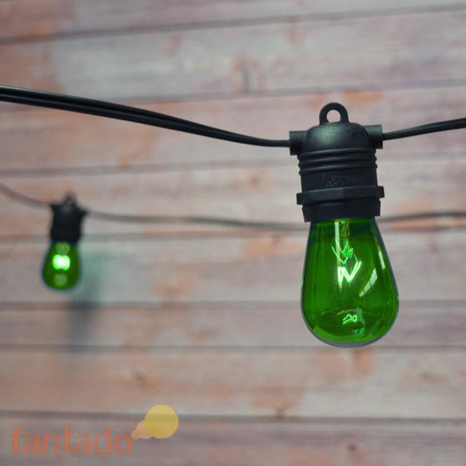 24 Socket Outdoor Commercial String Light Set, S14 Green Colored Light Bulbs, 54 FT Black Cord, Weatherproof