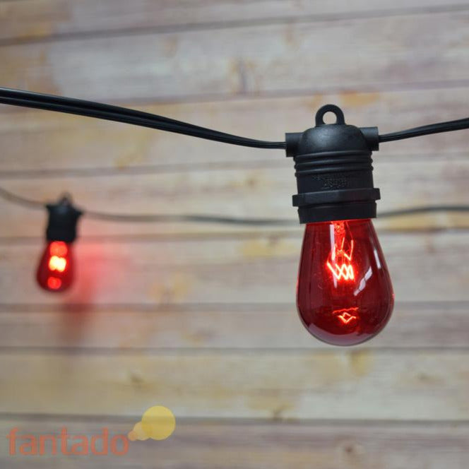 24 Socket Outdoor Commercial String Light Set, S14 Red Colored Light Bulbs, 54 FT Black Cord, Weatherproof