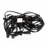 Yellow LED 25 Socket Outdoor Commercial String Light Set E12, Black Cord, 29 FT Weatherproof