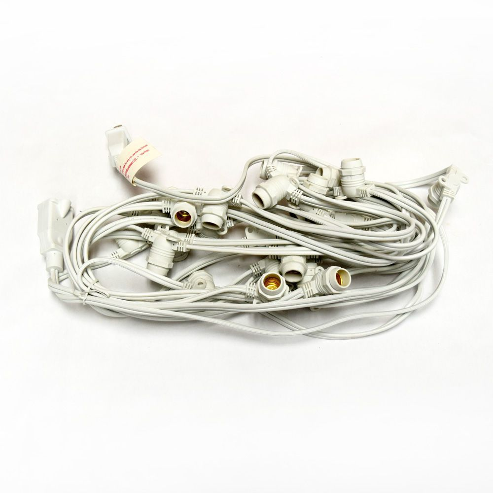Cool White LED 25 Socket Outdoor Commercial String Light Set E12, White Cord, 29 FT Weatherproof