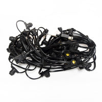 Pink LED 50 Socket Outdoor Commercial String Light Set E12, Black Cord, 54 FT Weatherproof