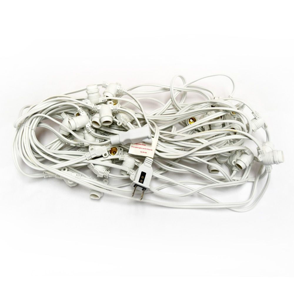 Purple LED 50 Socket Outdoor Commercial String Light Set E12, White Cord, 54 FT Weatherproof