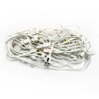 Warm White LED 50 Socket Outdoor Commercial String Light Set E12, White Cord, 54 FT Weatherproof