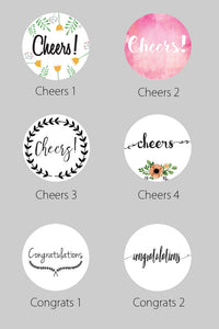 2.5 Inch Congratulations Themed Circle Label Stickers for Party Favors & Invitations (Pre-Set Designed, 24 Labels)