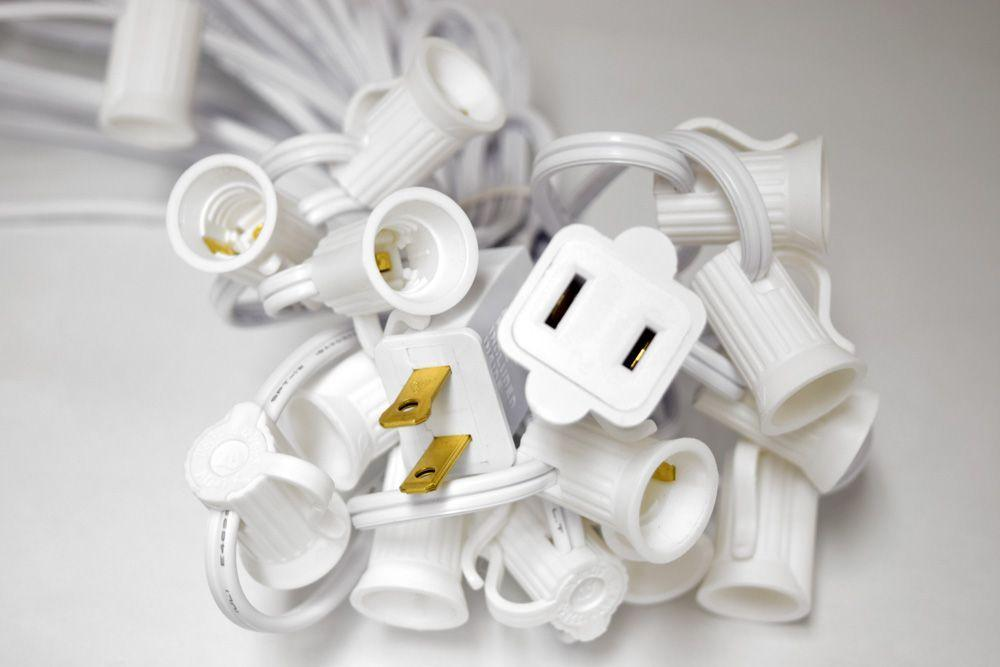 (Cord Only) 31 FT | 10 Socket Outdoor Patio String Light White Cord w/ E12 C7 Base