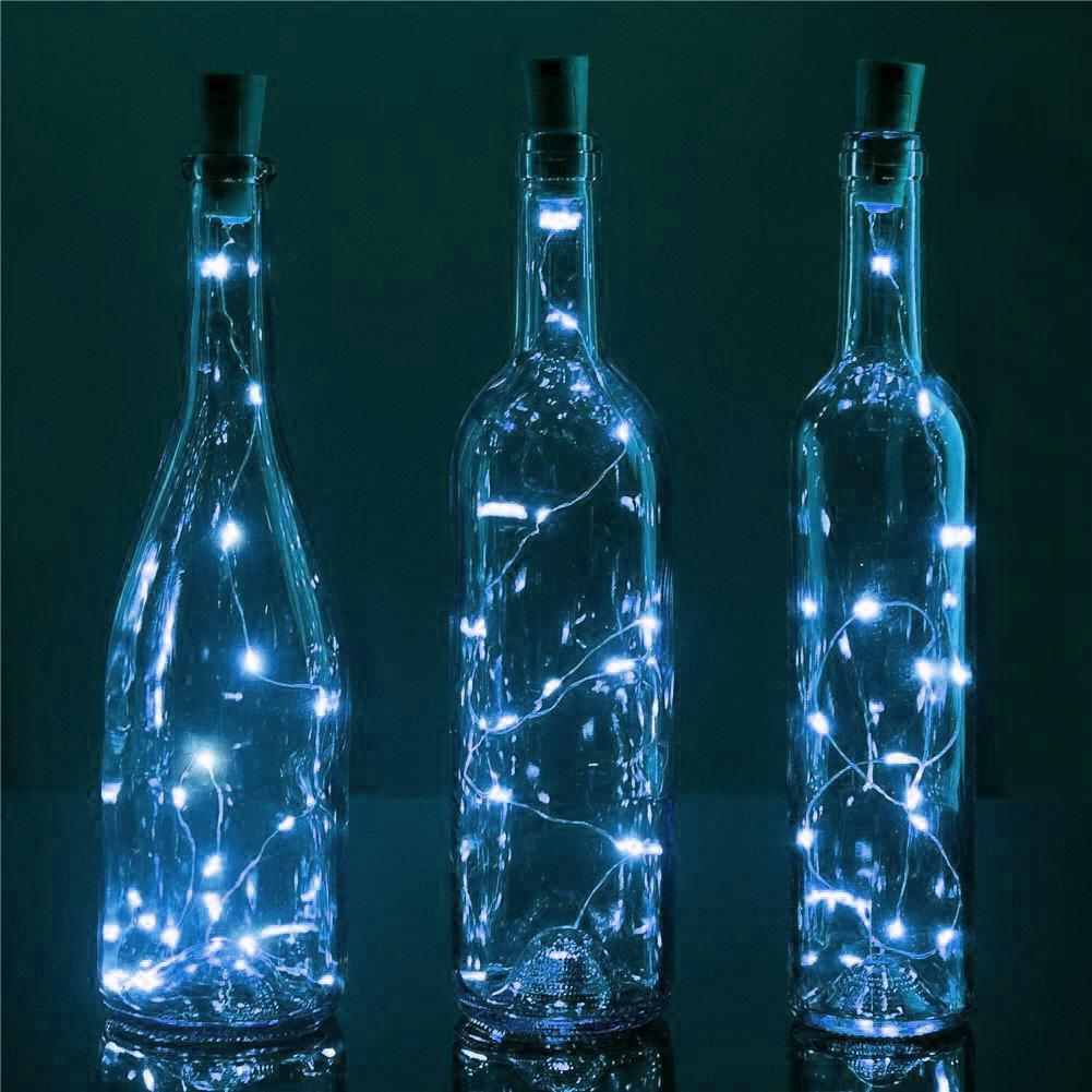 3 Pack | 3 Ft 20 Super Bright Cool White LED Battery Operated Wine Bottle lights With Cork DIY Fairy String Light For Home Wedding Party Decoration - PaperLanternStore.com - Paper Lanterns, Decor, Party Lights & More