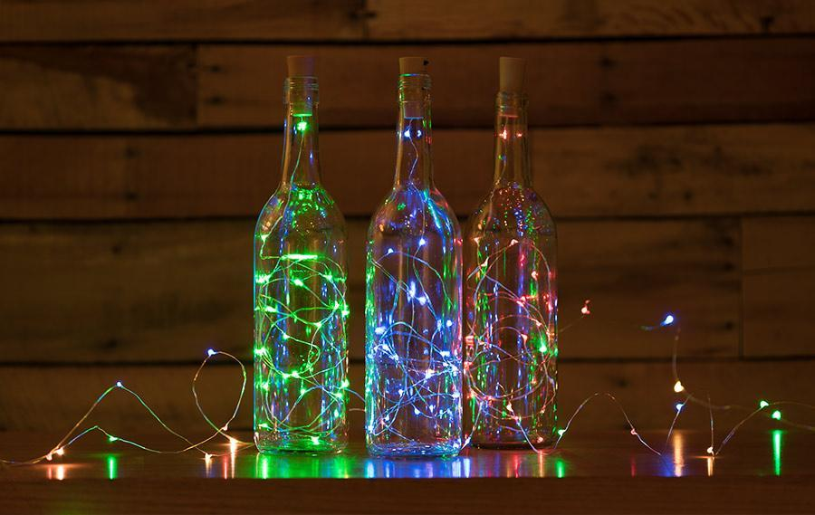3Ft Battery Powered 20 LED RGB Cork Wine Bottle Lights DIY Fairy String Lights Table Centerpiece Decoration - PaperLanternStore.com - Paper Lanterns, Décor, Party Lights & More