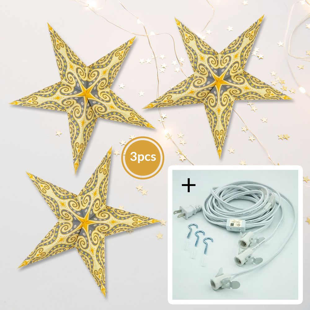 "3-PACK + Cord | Light Yellow Mouri Screen 24"" Illuminated Paper Star Lanterns and Lamp Cord Hanging Decorations"