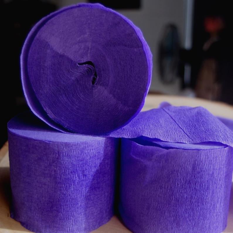 BLOWOUT Purple Crepe Paper Streamer Party Decorations (195FT Total, 3 PACK) - PaperLanternStore.com - Paper Lanterns, Decor, Party Lights & More