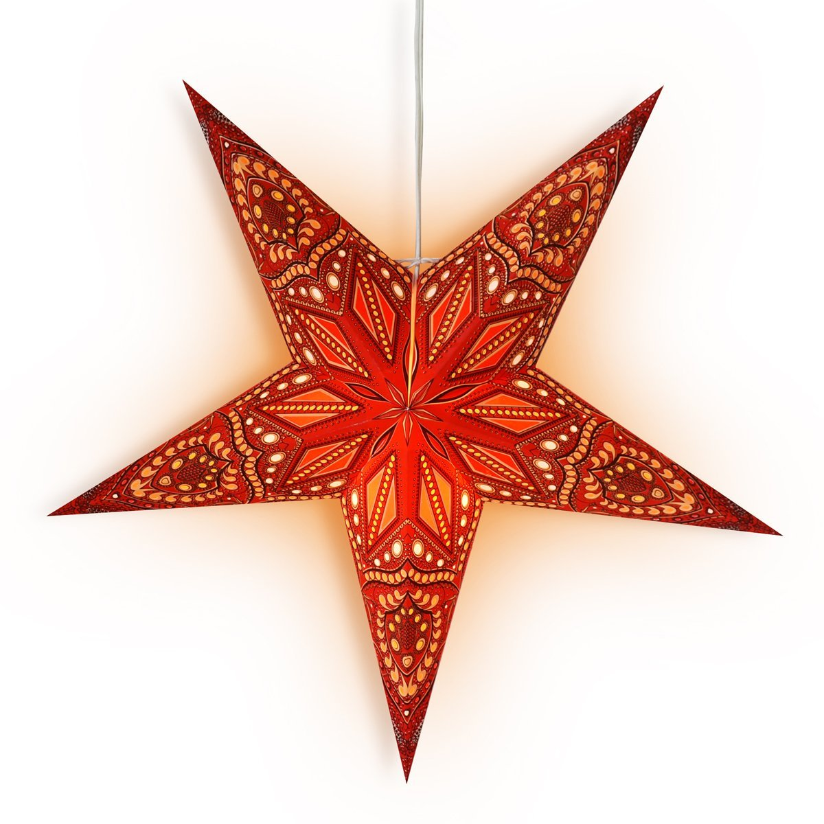 "24"" Red Crystal Paper Star Lantern, Hanging Wedding & Party Decoration - PaperLanternStore.com - Paper Lanterns, Decor, Party Lights & More"