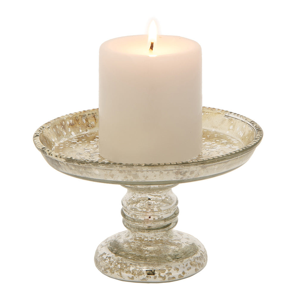 "BLOWOUT 4"" Silver Linda Mercury Glass Pillar Candle Stand"