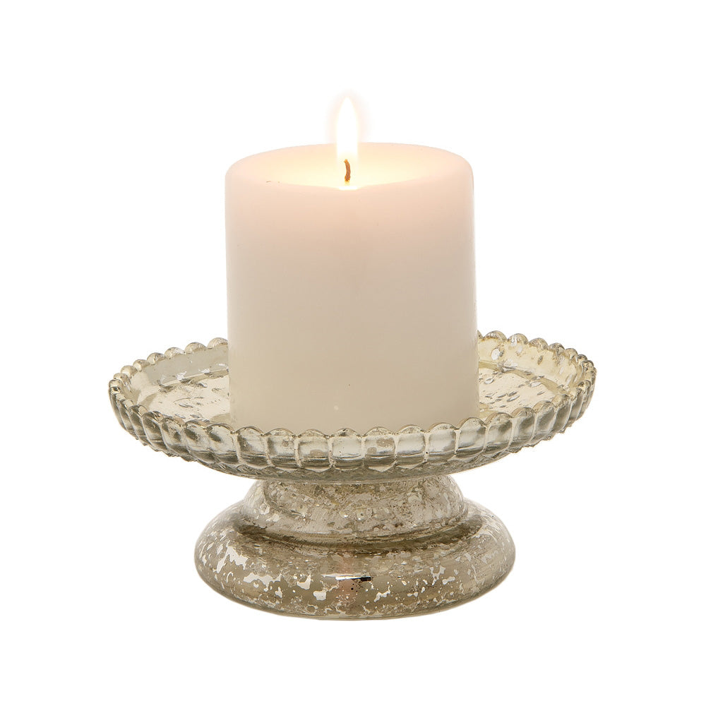 "2.5"" Silver Anna Mercury Glass Pillar Candle Stand"