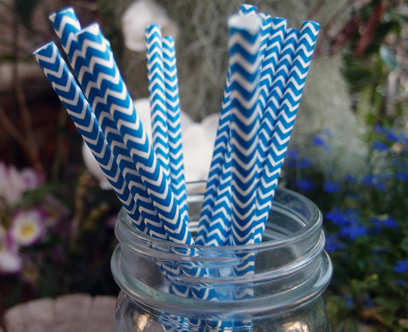 BLOWOUT Dark Blue Chevron Patterned Party Paper Straws (12 PACK)