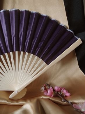 "BULK PACK (50) 9"" Dark Purple Silk Hand Fans for Weddings"