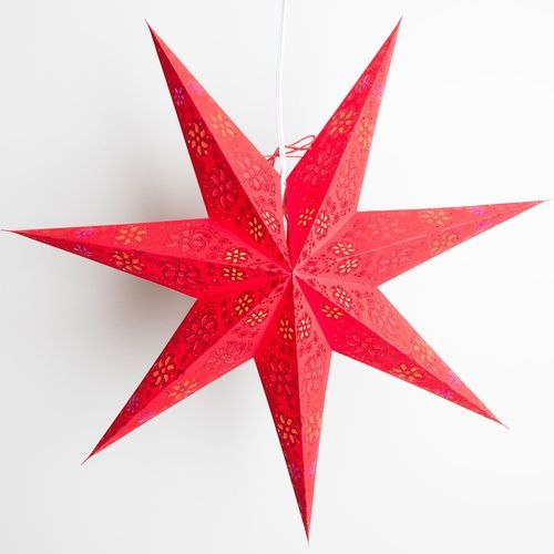 "3-PACK + Cord | 7 Point Red Winds Glitter 24"" Illuminated Paper Star Lanterns and Lamp Cord Hanging Decorations"