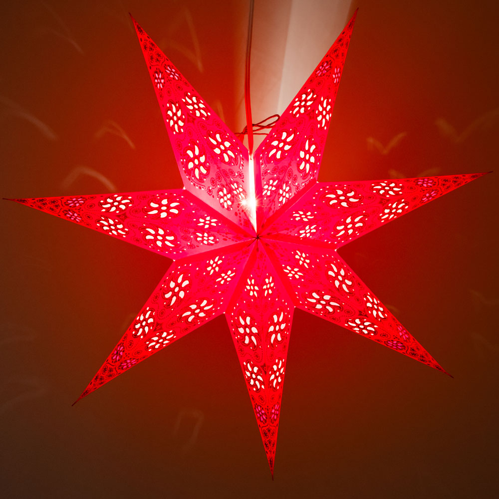 "24"" 7 Point Dark Red Winds Glitter Paper Star Lantern, Hanging Decoration"