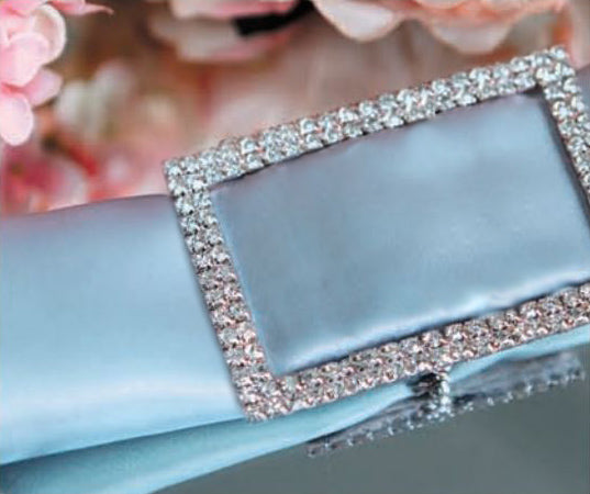 BLOWOUT Designer Silver Rhinestone Napkin Ring w/ Clasp - Rectangle, Bejeweled