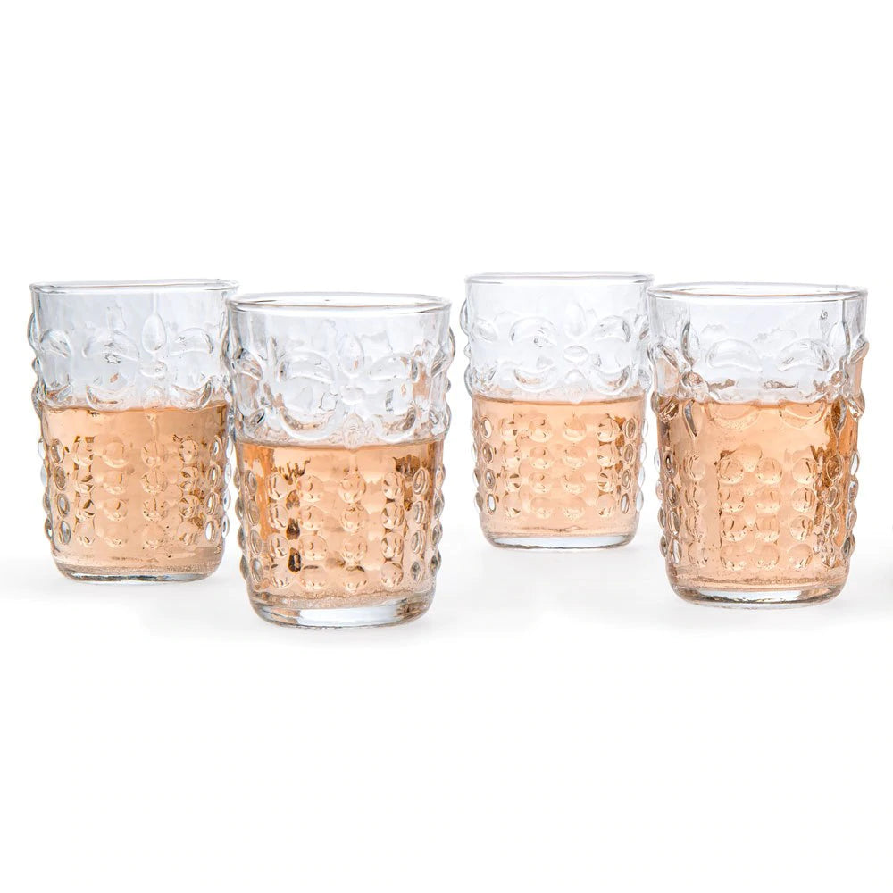 6 Pack | Small Fleur de Lys Juice/Wine Drinking Glass (6 Piece Set, Clear, Holds Approx 5 oz)  - For Home Decor, Parties, and Wedding Decorations - PaperLanternStore.com - Paper Lanterns, Decor, Party Lights & More