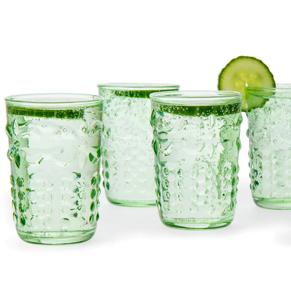 BLOWOUT 6 Pack | Small Fleur de Lys Juice/Wine Drinking Glass (6 Piece Set, Light Green, Holds Approx 5 oz)  - For Home Decor, Parties, and Wedding Decorations