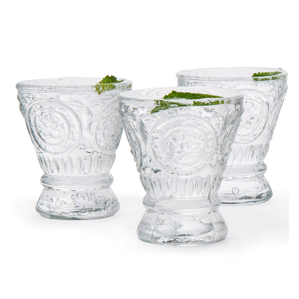 6 Pack | Small Medallion Sipping Shot Glasses Drinkware (6 Piece Set, Clear, Holds Approx 3.5 oz)  - For Home Decor, Parties, and Wedding Decorations
