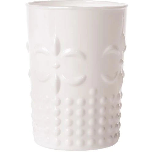 BLOWOUT 9 Ounce Milk White Fleur de Lys Design Glass Tumbler Drinkware
