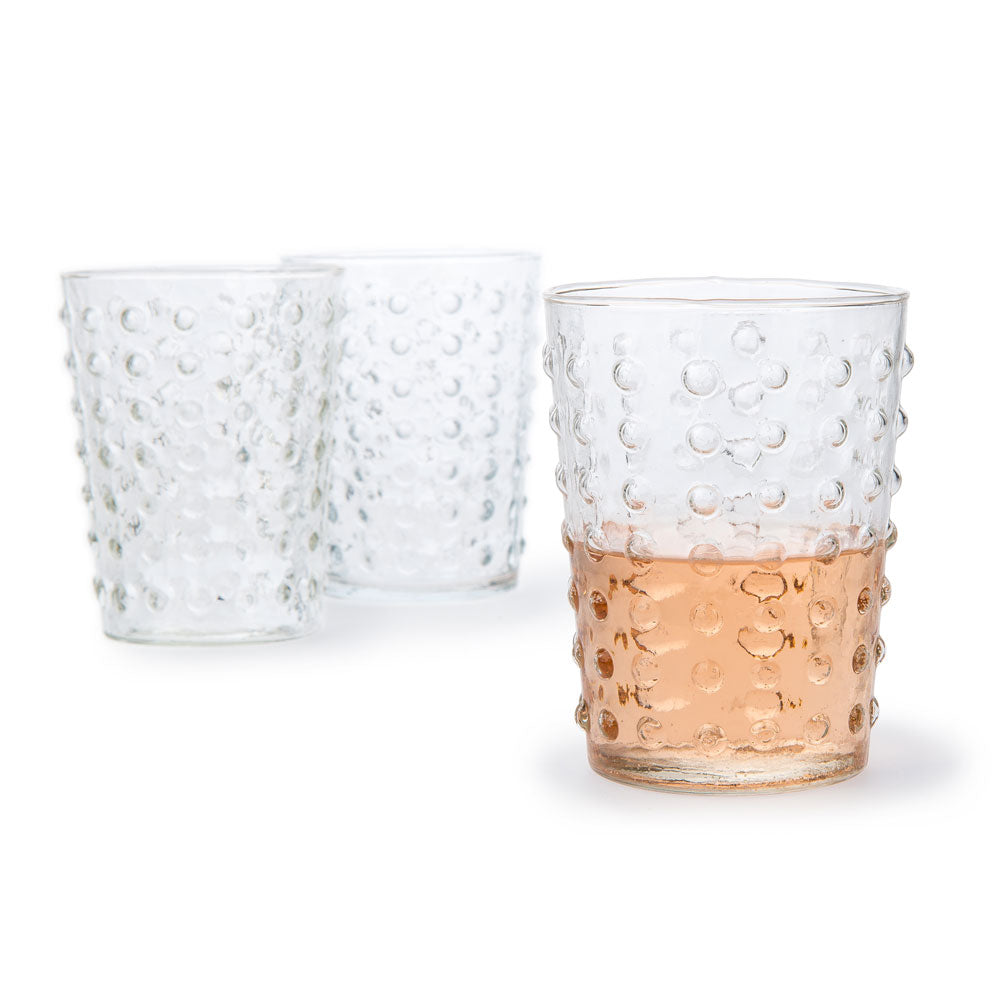 10 Ounce Clear Hobnail Design Glass Tumbler Drinkware