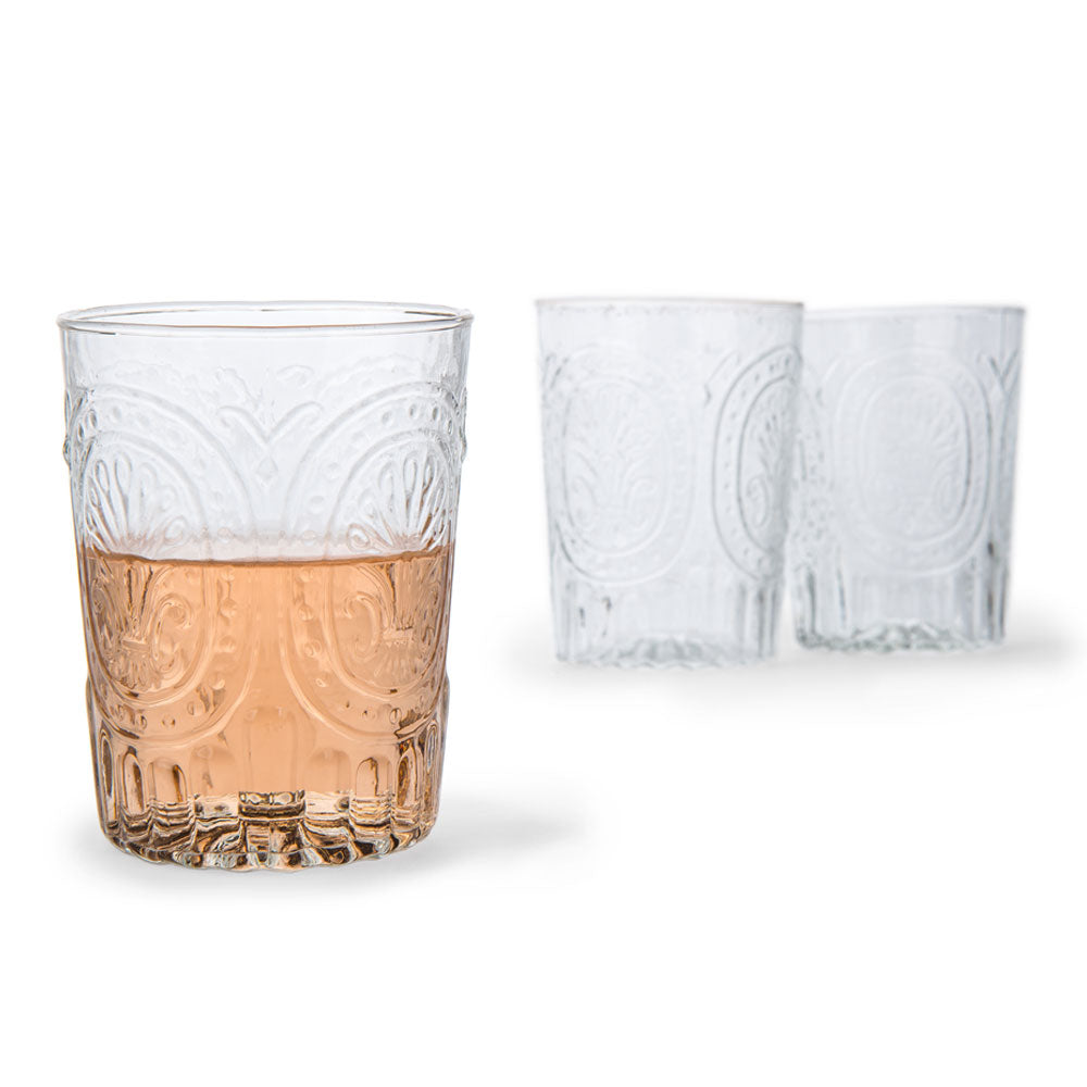 12 Ounce Clear Medallion Design Glass Tumbler Drinkware
