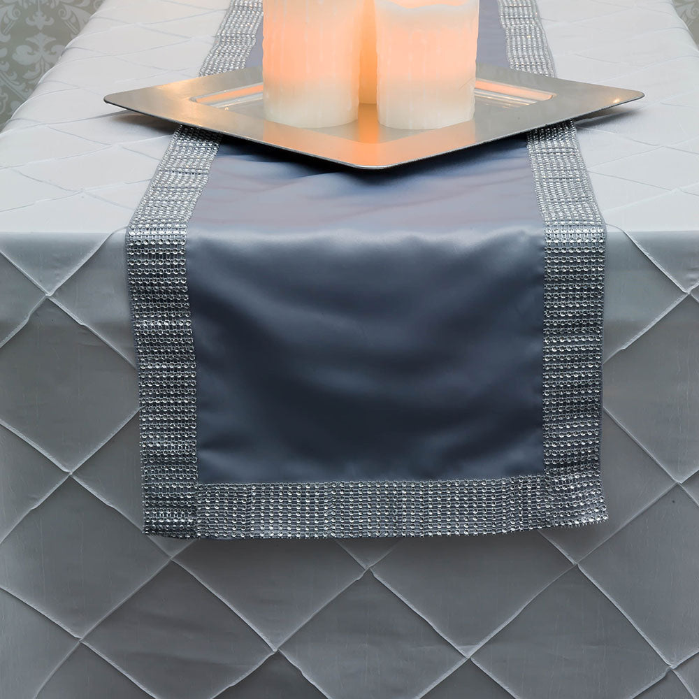 BLOWOUT Silver Diamond Sequin Concave Mesh Table Runner (12 x 72)
