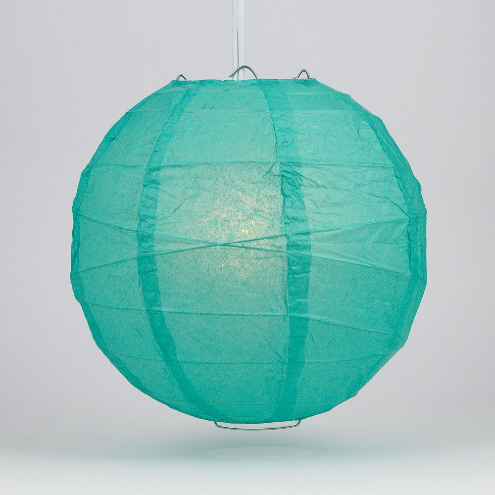"10"" Teal Green Round Paper Lantern, Crisscross Ribbing, Chinese Hanging Wedding & Party Decoration"