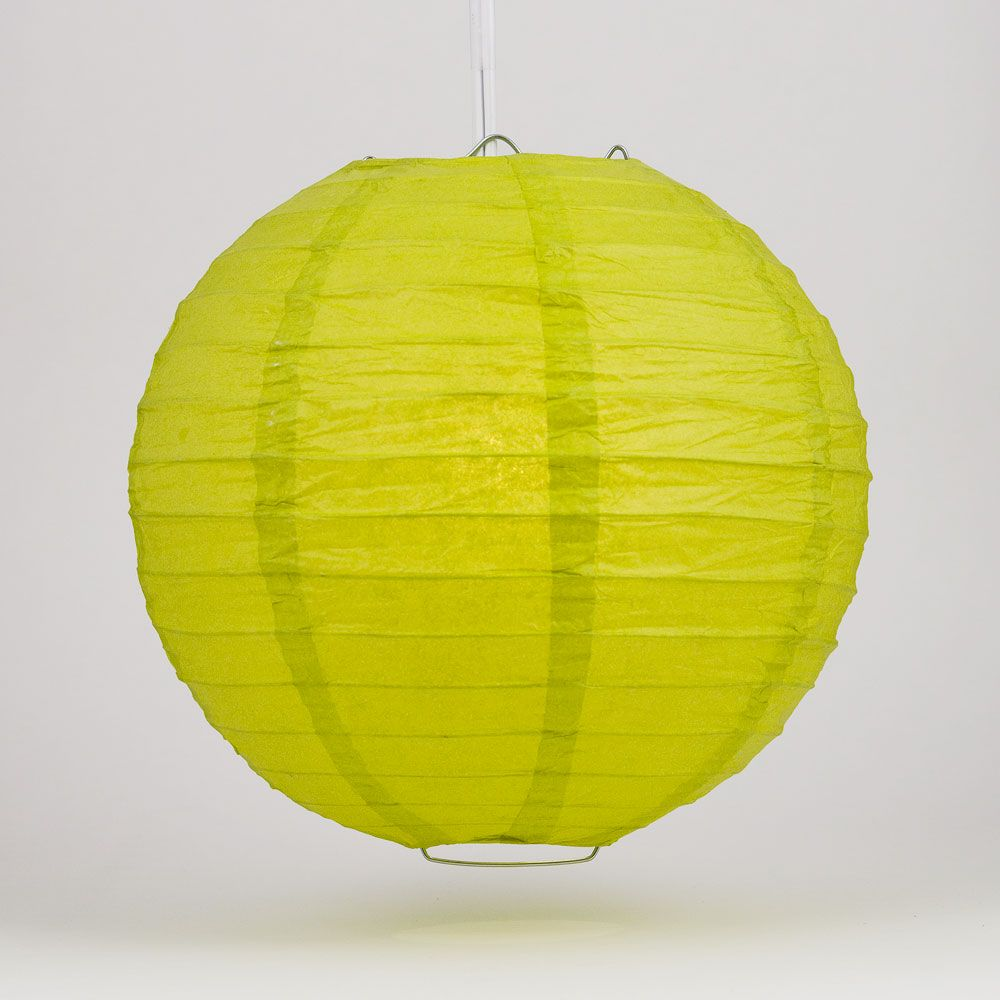 "4"" Chartreuse Round Paper Lantern, Even Ribbing, Hanging Decoration (10 PACK)"
