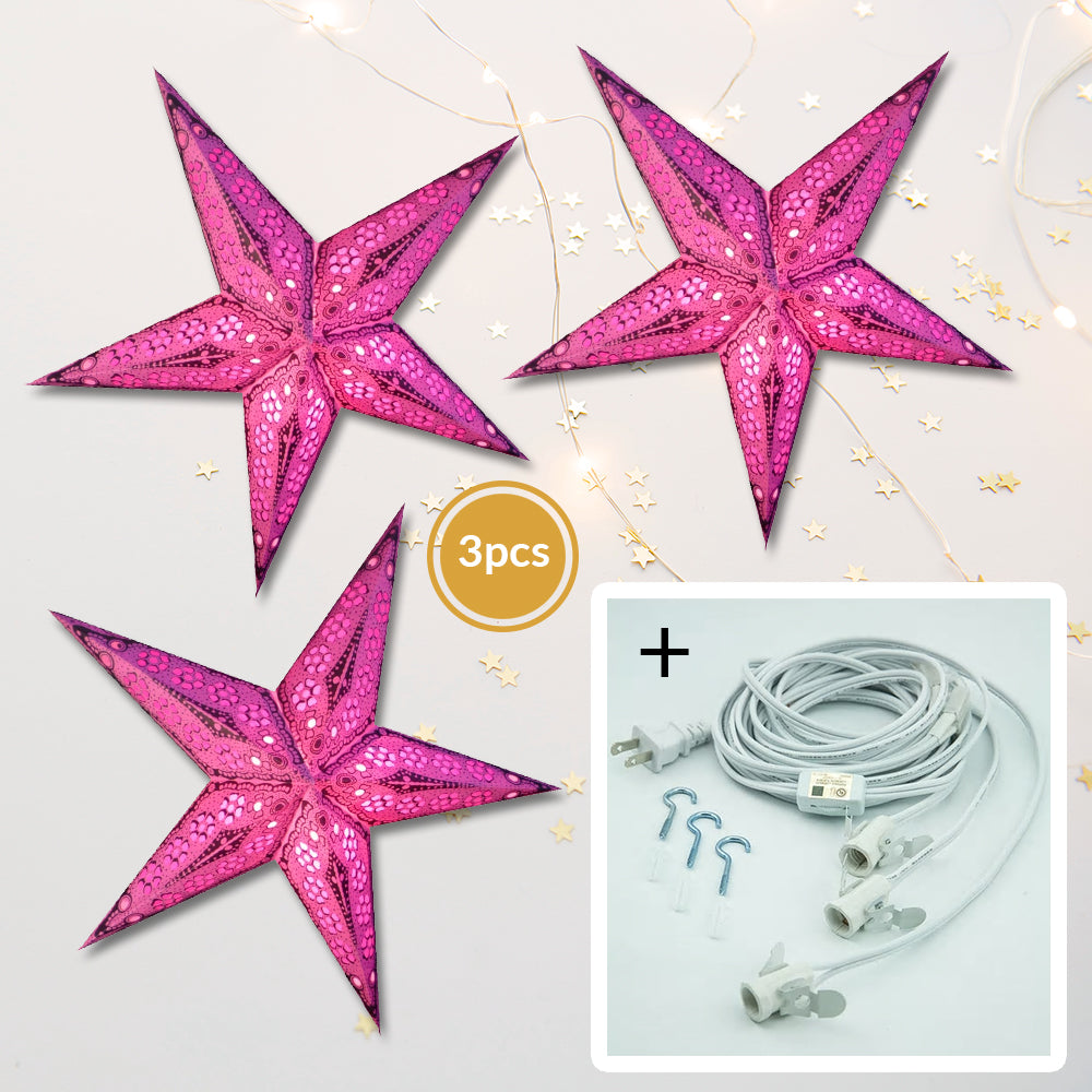 "3-PACK + Cord | Pink Petal Cut 24"" Illuminated Paper Star Lanterns and Lamp Cord Hanging Decorations"