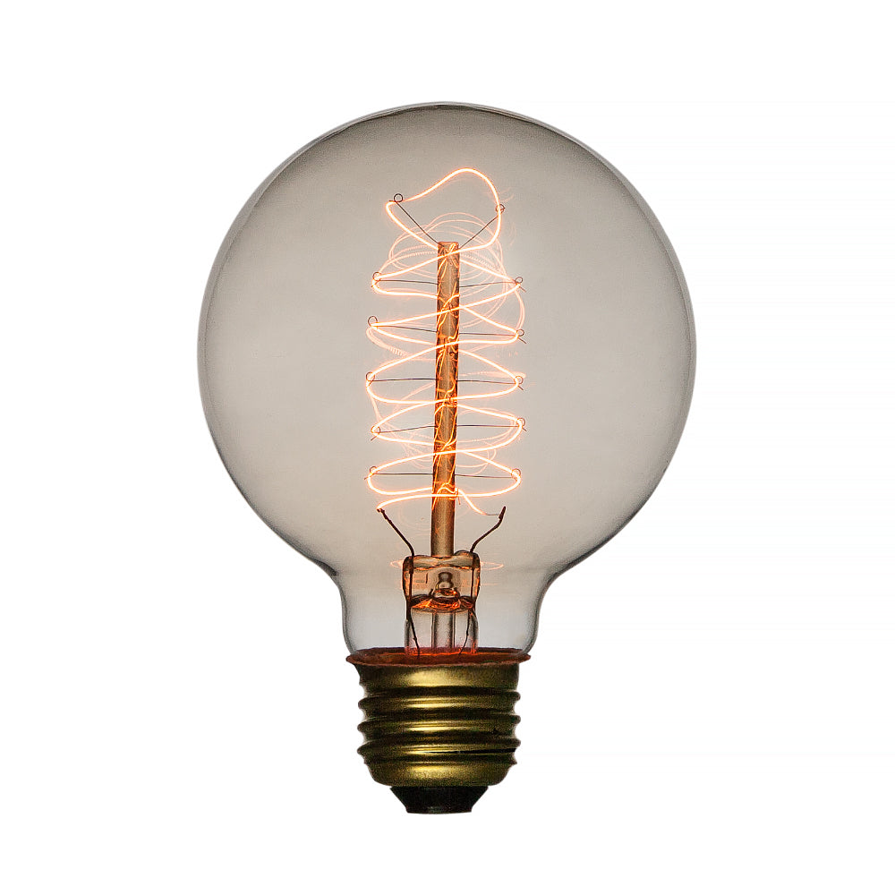 BLOWOUT 40-Watt Incandescent G95 Globe Vintage Edison Light Bulb, Spiral Filament, E26 Medium Base