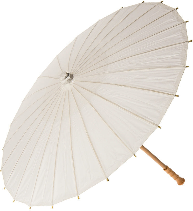 "BULK PACK (10) 32"" Wedding Beige / Ivory Paper Parasol Umbrellas with Elegant Handle - PaperLanternStore.com - Paper Lanterns, Decor, Party Lights & More"