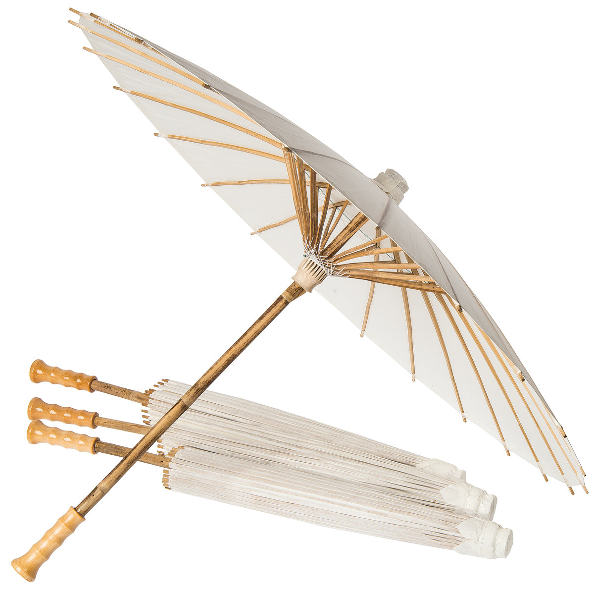 "BULK PACK (6) 32"" Wedding Beige / Ivory Paper Parasol Umbrellas with Elegant Handle"