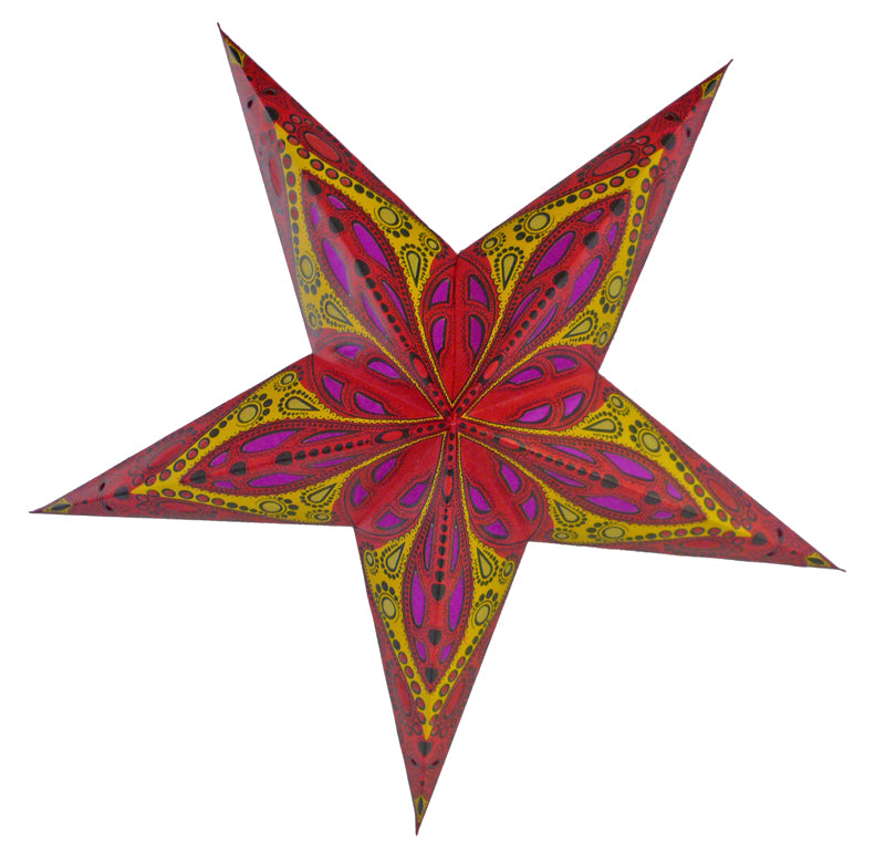 "24"" Red Exotic Dahlia Paper Star Lantern, Chinese Hanging Wedding & Party Decoration"