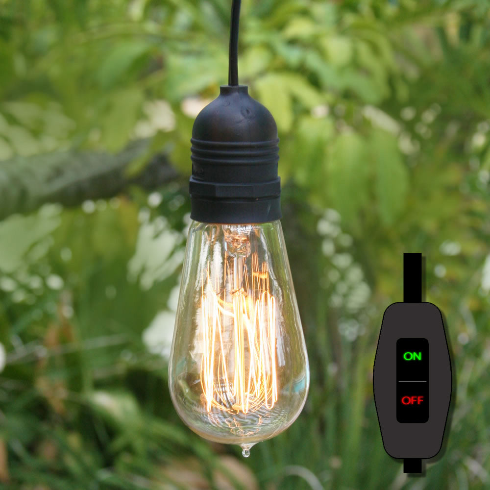 15FT Black Commercial Grade Outdoor Pendant Light Lamp Cord (On/Off Switch) - Electrical Swag Light Kit