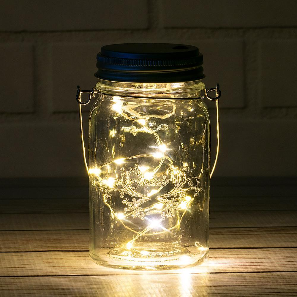 Fantado Regular Mouth Clear Mason Jar w/ Hanging Warm White LED Fairy Light Kit (Battery Powered) - PaperLanternStore.com - Paper Lanterns, Decor, Party Lights & More