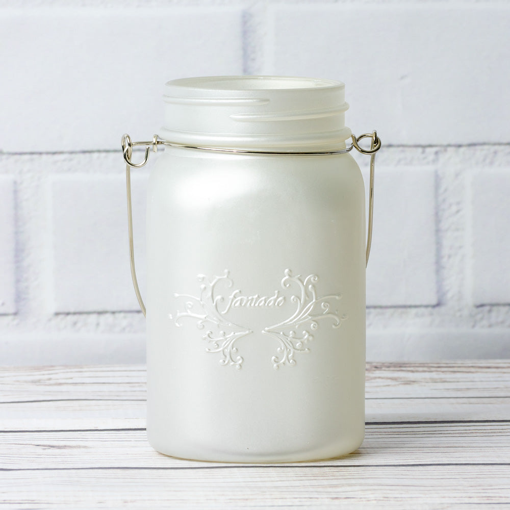 Fantado Regular Mouth Frosted Pearl White Color Mason Jar w/ Handle, 16oz / 1 Pint