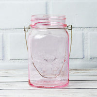 (3-Pack) Fantado Regular Mouth Light Pink Mason Jar with Handle, 16oz / 1 Pint