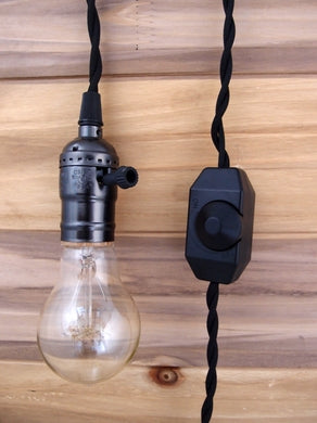 BULK PACK (6) Single Pearl Black Socket Pendant Light Lamp Cord Kits w/ Dimmer (11FT, Black Cloth)