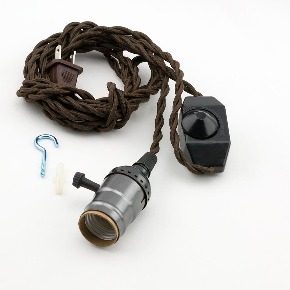 Single Black Pearl Socket Vintage-Style Pendant Light Cord w/ Dimmer Switch Switch, 11 FT Twisted Brown Cloth Cord - Electrical Swag Light Kit - PaperLanternStore.com - Paper Lanterns, Decor, Party Lights & More