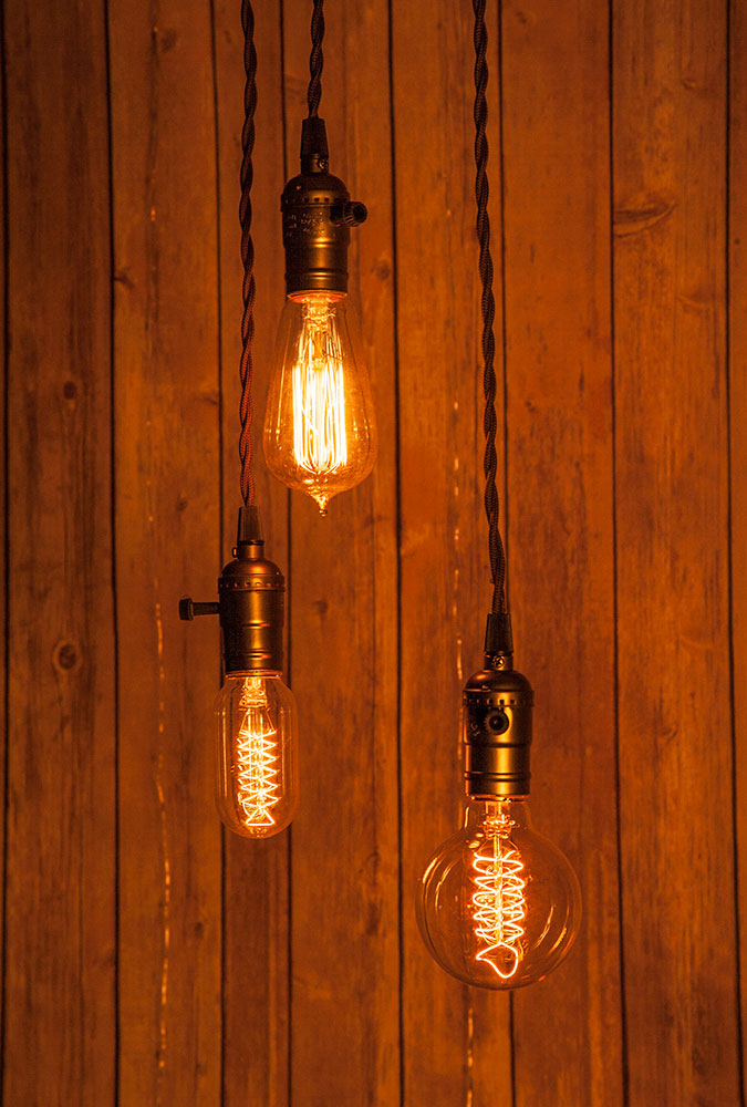 Triple Copper Socket Vintage-Style Pendant Light Cord w/ Dimmer Switch Switch, 17FT Twisted Brown Cloth Cord - Electrical Swag Light Kit