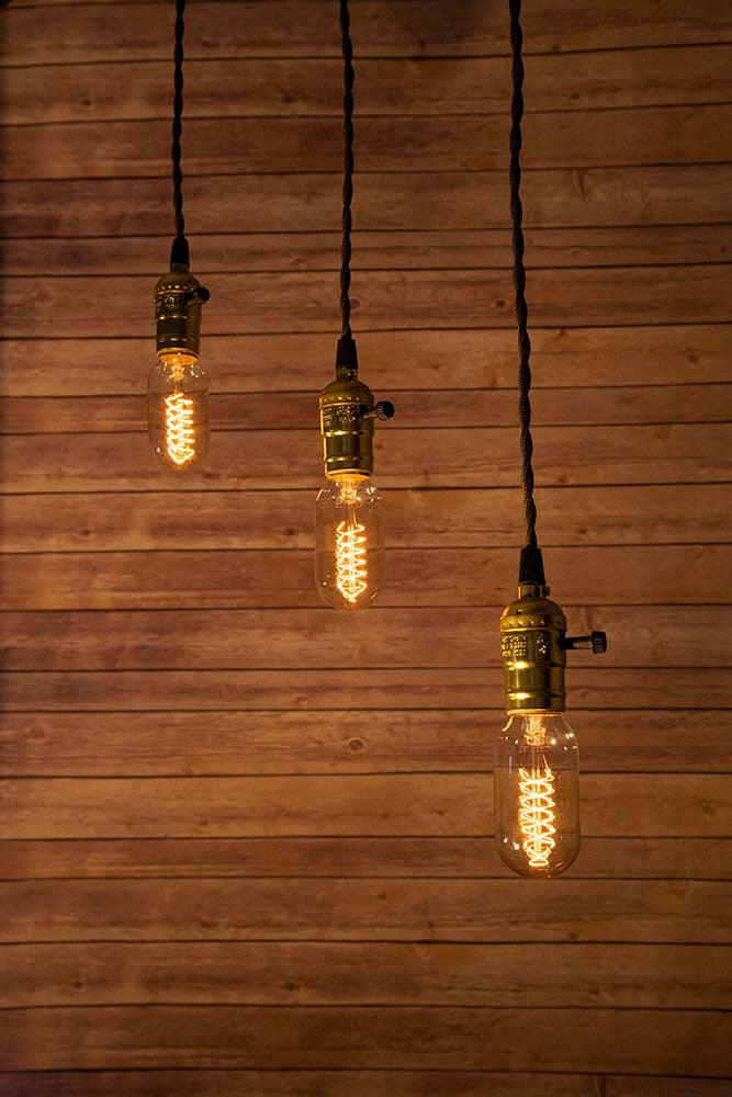 Triple Gold Socket Vintage-Style Pendant Light Cord w/ Dimmer Switch Switch, 17FT Twisted Brown Cloth Cord - Electrical Swag Light Kit