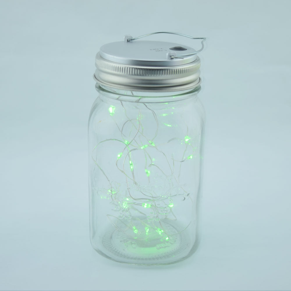 Fantado Wide Mouth Clear Mason Jar Light w/ Hanging Green Fairy LED Kit