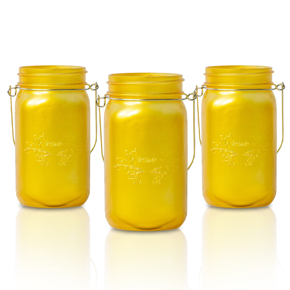 BLOWOUT (3-Pack) Fantado Wide Mouth Frosted Yellow Gold Color Mason Jar w/ Handle, 32oz