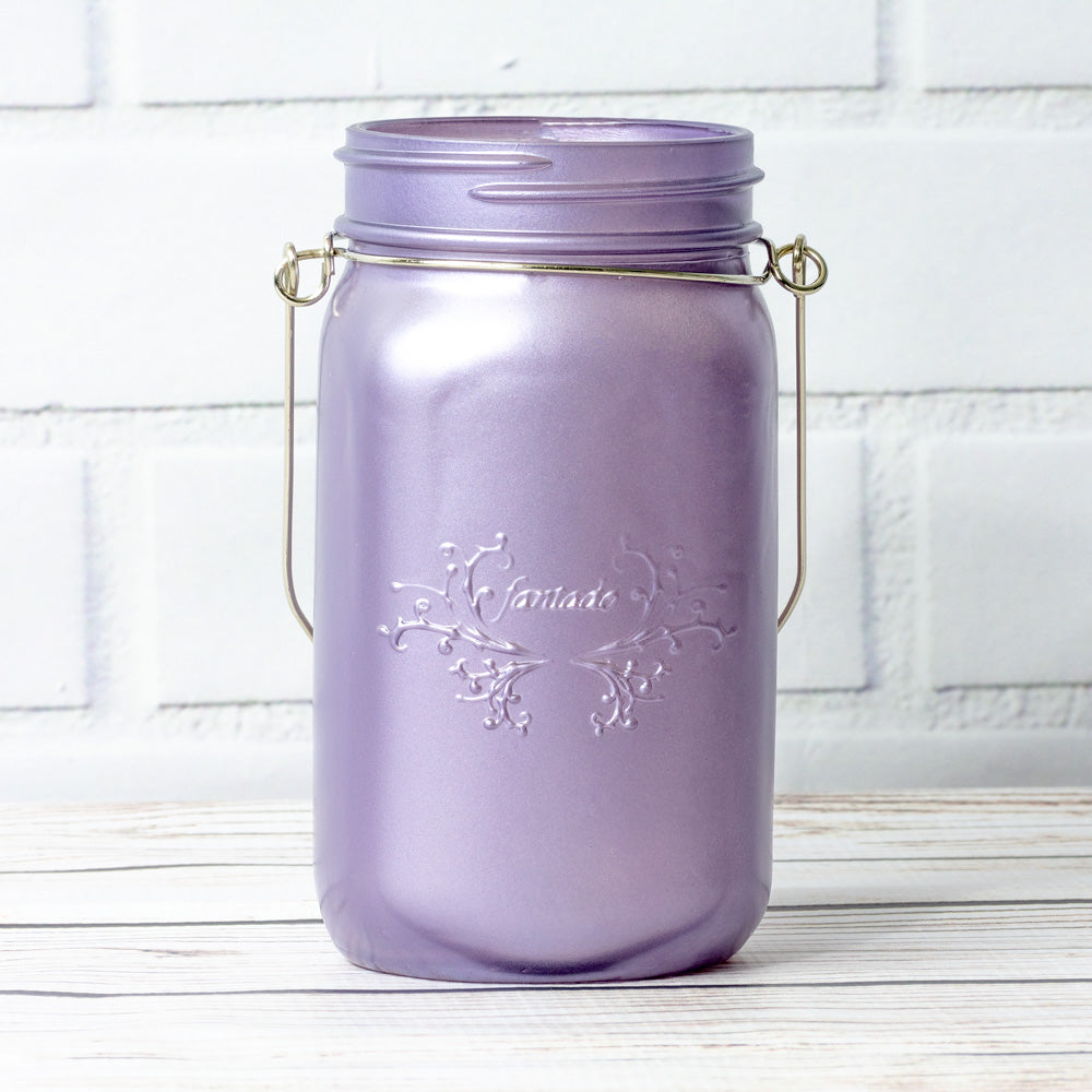 BLOWOUT (3-Pack) Fantado Wide Mouth Frosted Wisteria Purple Color Mason Jar w/ Handle, 32oz