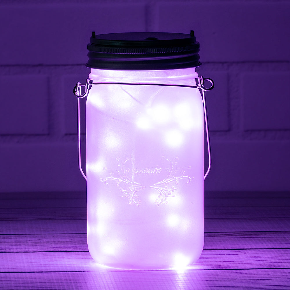 BLOWOUT Fantado Wide Mouth Frosted Lavender Mason Jar w/ Handle, 32oz