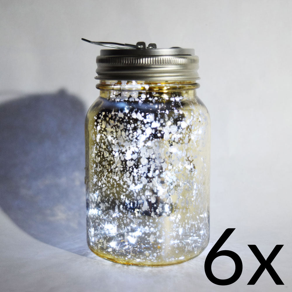 BULK PACK (6) Fantado Wide Mouth Gold Mercury Glass Mason Jar Lights w/ Hanging Cool White Fairy LED Kit