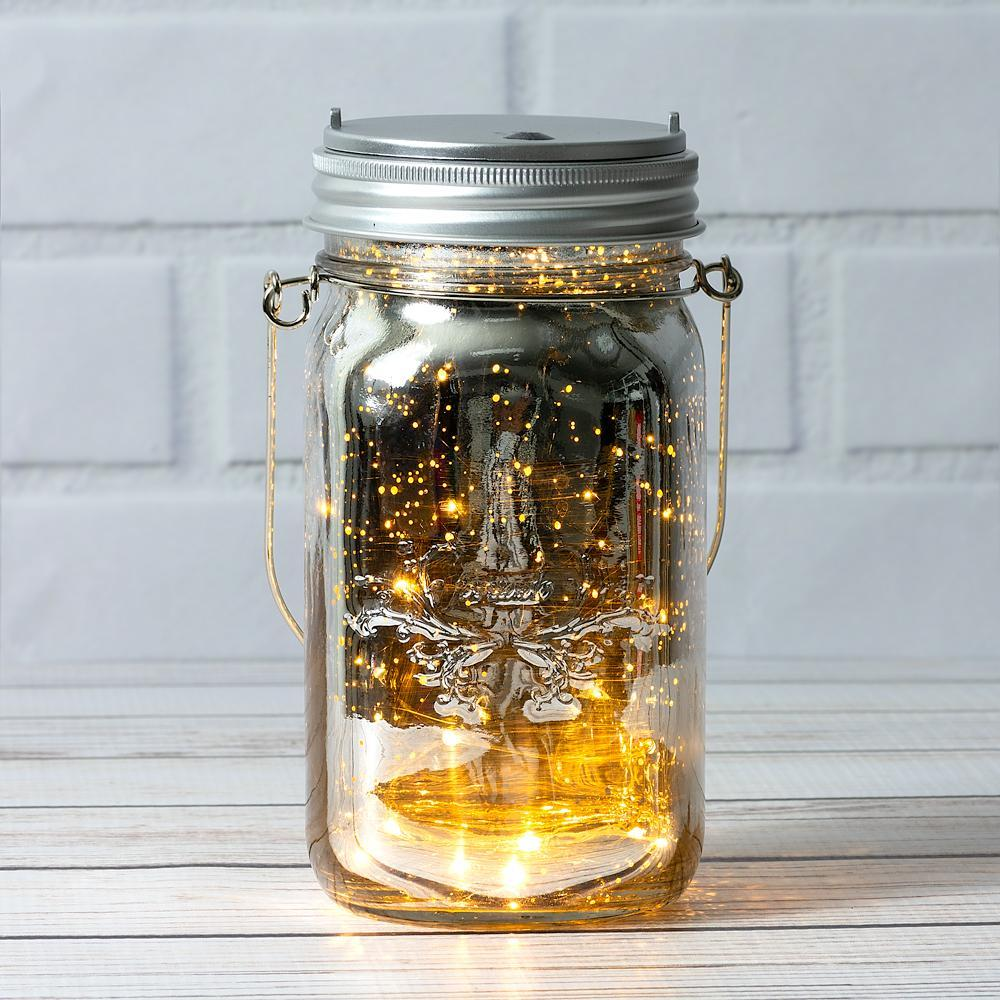 Fantado Wide Mouth Silver Mercury Glass Mason Jar w/ Hanging Warm White LED Fairy Light Kit (Battery Powered) - PaperLanternStore.com - Paper Lanterns, Decor, Party Lights & More
