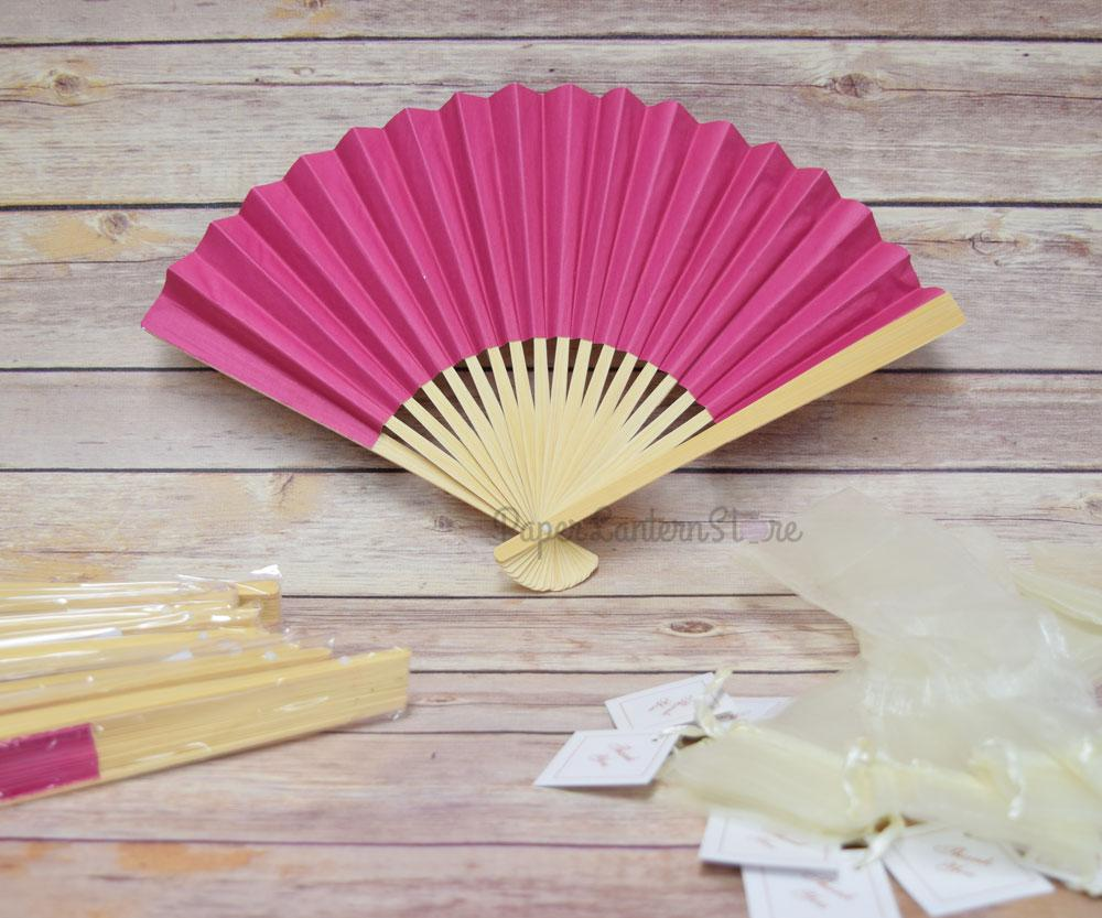 "9"" Fuchsia / Hot Pink Paper Hand Fans w/ Beige Organza Bag (Combo 10 Pack) - PaperLanternStore.com - Paper Lanterns, Decor, Party Lights & More"